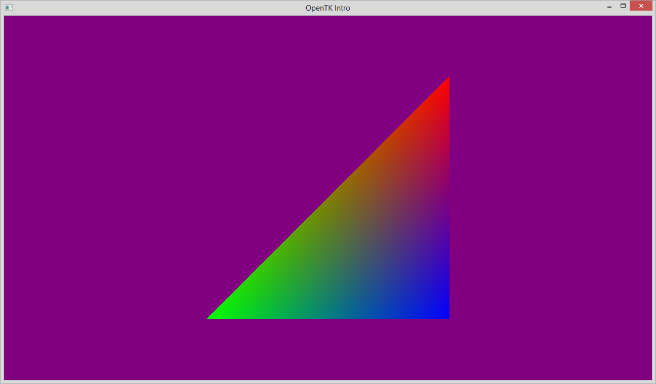 Screenshot of coloured triangle on dark background
